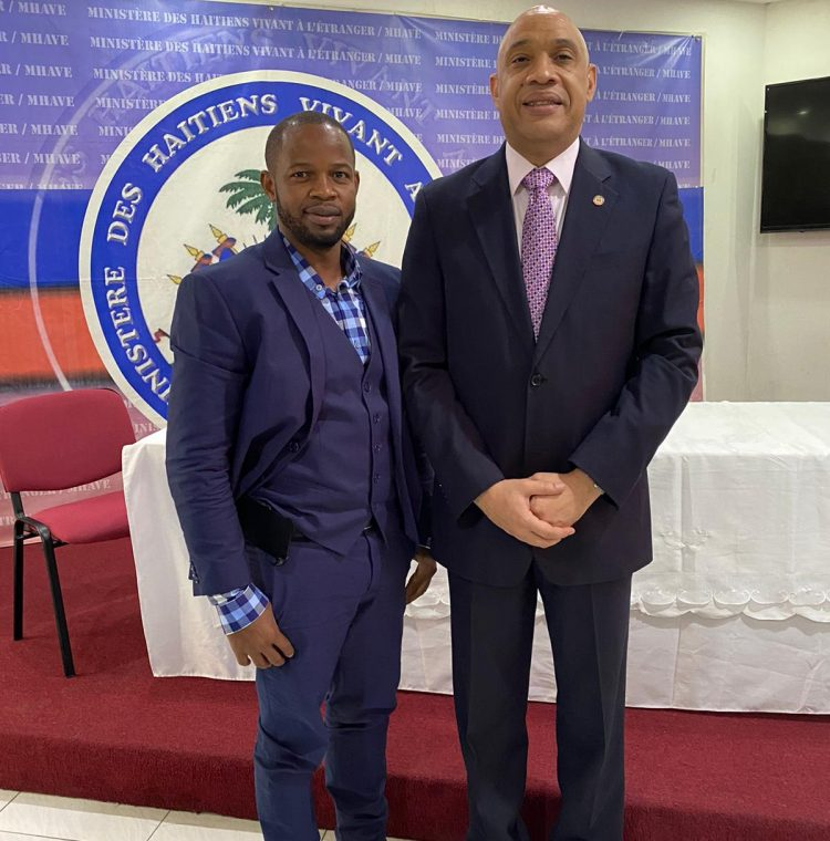 PIERRE NORAME / THE FOUNDER OF I CLEAN HAITI WITH THE MINISTER LOUIS GONZAGUE EDNER DAY.